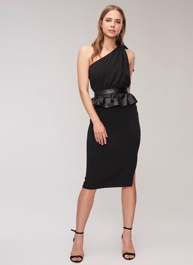 People By Fabrika Tek omuz detaylı Elbise Siyah